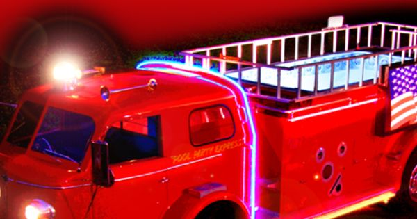 Pool Party Express Hot Tub On Top Of A Fire Truck With Neon Lights