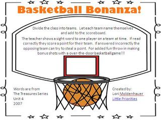 Free Basketball Sight Word Game Classroom Freebies Sight Word Games Sight Words Word Games
