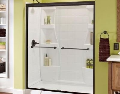 Delta Crestfield 59 3 8 In X 70 In Bypass Sliding Shower Door In Oil Rubbed Bronze With Frameless Clear Glass 158867 At The Home Depot