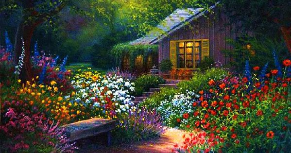 Flower Garden Path Paintings Bing Images Artflowersgardens - House garden with flowers