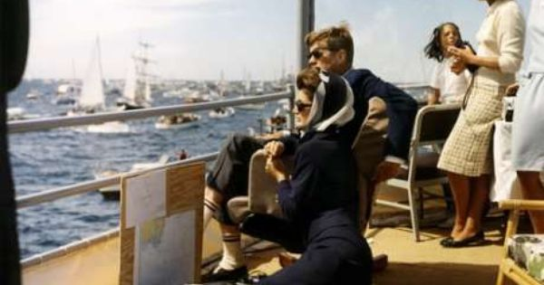 President John Kennedy and first lady Jacqueline Kennedy watching the America's Cup