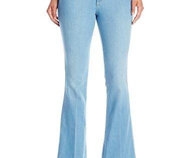 NYDJ Womens Petite Petite Farrah Flare Jeans in Sky Blue Denim