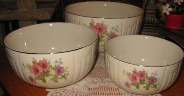 Hall China Pastel Morning Glory Radiance Bowl Set Of 3