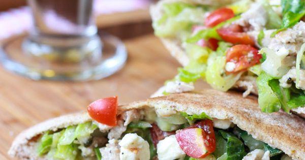 Greek chicken salad, Greek chicken and Pita pockets on Pinterest