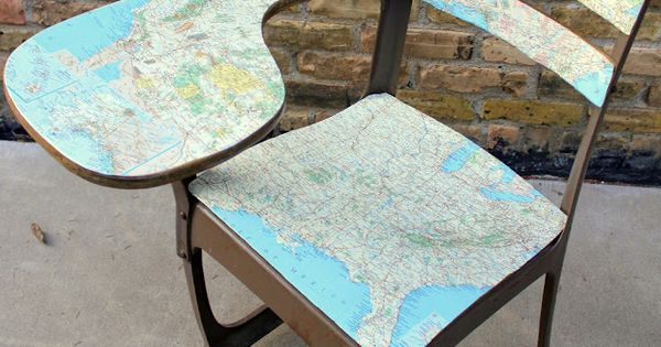 DIY ::: Vintage school desk with map decoupage. What a great idea!