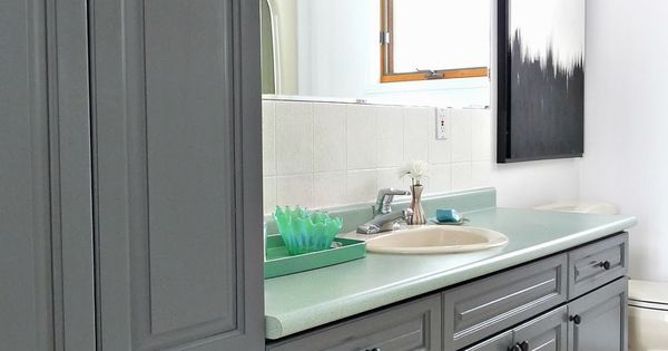 Charocoal painted bathroom cabinets rustoleum cabinet transformations with almond sink toilet