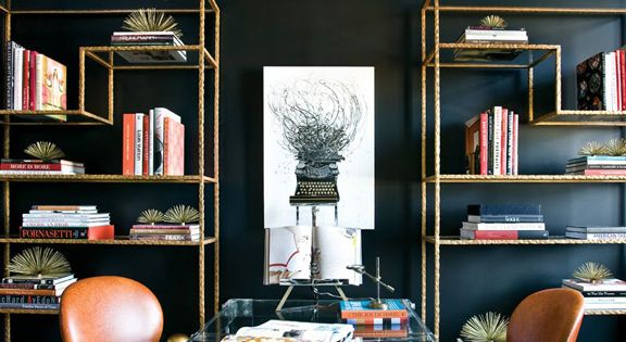 Home office: love the lucite desk, leather chairs and black walls.