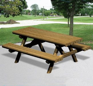 Landscape Timber Picnic Table Wood Plan Make Your Own Classic Roadside Style Picnic Tables From Economical Wood Plans Outdoor Furniture Plans Landscape Timbers