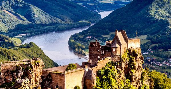 scenic landscape with aggstein castle ruin and danube river at sunset in wachau valley near. Black Bedroom Furniture Sets. Home Design Ideas