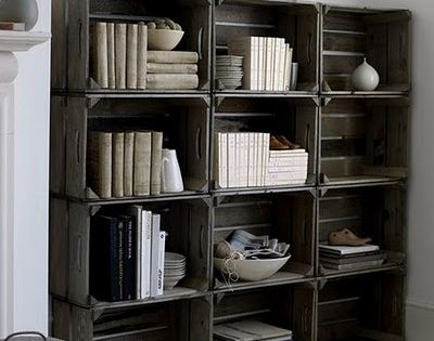 Stained crates turned into a stellar bookcase-esque storage display unit. shabbychic DIY