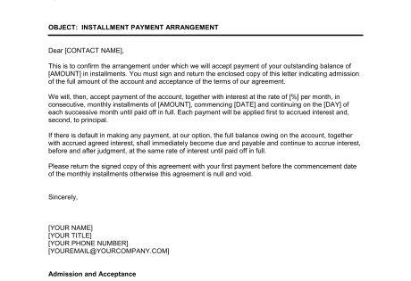 installment payment agreement template amp sample form biztree plan
