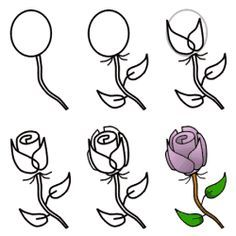 How To Draw A Simple Rose Rose Malen Rosenzeichnungen Und