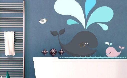 Wandtattoo Happy Whales Kinderzimmer Tapete Kinder Badezimmer Badezimmer Design