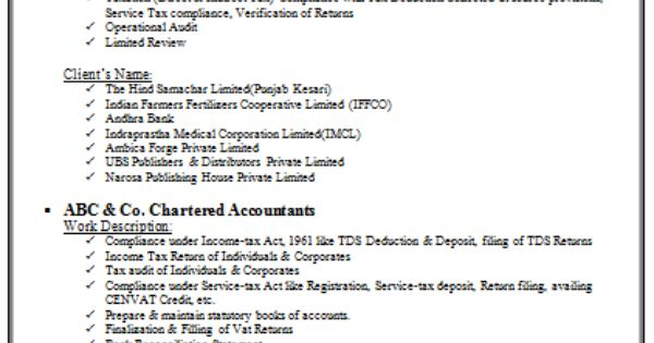chartered accountant resume format freshers page 2 cv