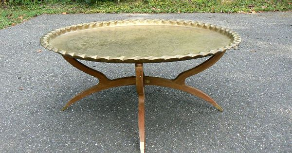 Vintage Brass Moroccan Coffee Tray Table Middle Eastern