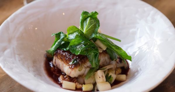 Pan Seared Halibut with Sautéed Spring Vegetables, Miso Marcona ...