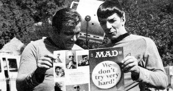 Captain Kirk and Spock reading MAD magazine. Subscription delivery to Riverside Iowa