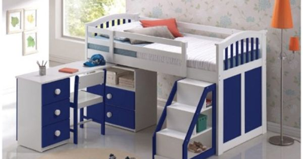 Ruby Midi Sleep Station Blue And White Bunk Bed Sweet Dreams Loft Bed Kid Beds Boys Bedroom Furniture