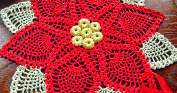 Esquema de carpeta con dise o de navidad para tejer con - Esquema punto estrella crochet ...