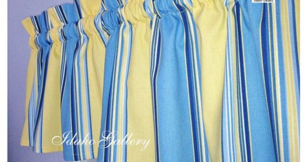 Blue Yellow Stripe Window Valance Little Curtain By Idaho