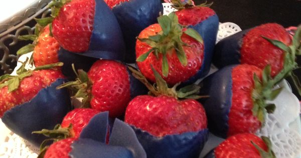-strawberries dipped in navy blue chocolate -perfect for a Spider-man Birthday Theme-