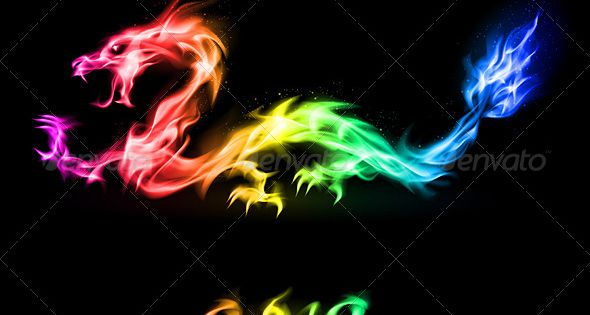 Fiery Treble Clef In Rainbow Flames: Black Backgrounds, Icons And Beautiful