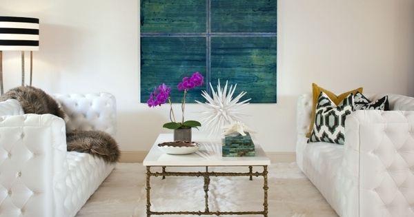Nach Feng Shui Wohnzimmer Einrichten Modern Weiss Couch Teppich Pelz Bild Blaugruen Kissen Muster