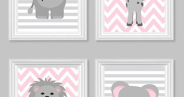 Zoo nursery d cor p pini re gris et rose fille zoo for Decoration chambre zoo