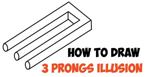 How To Draw 3 Prongs Optical Illusion Easy Step By Step Drawing