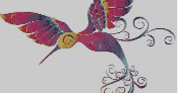 Grille de broderie point de croix animaux colibri aux - Noel a mille couleurs ...