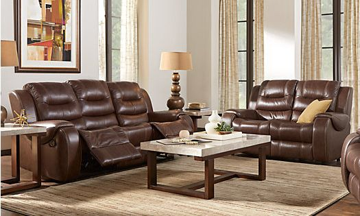 Veneto brown leather 5 pc living room 1 find for Find living room furniture