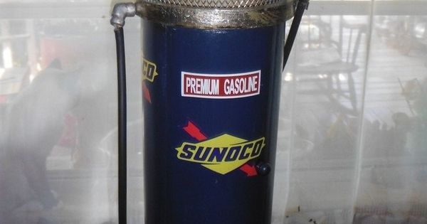 Vintage Tall Sunoco Gas Pump Style Lamp Amp Cabinet