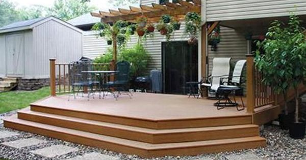 Stairs For 6 X 12 Foot Deck 20 X 12 Elevated Patio Deck With Wide Stairs At Menards Deck Designs Backyard Patio Decks Backyard