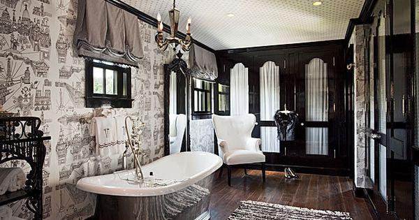 Toile Bathroom Ideas: Black And White Bathroom With Closets