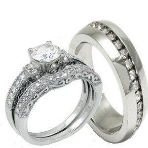 His Hers 3 Pieces 925 Sterling Silver Stainless Steel Engagement Wedding Ring Set Antique Style Wedding Rings Favorite Engagement Rings Wedding Ring Sets