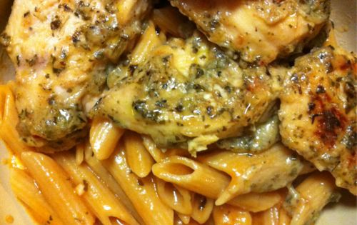Garlic Pesto Chicken with Tomato Cream Penne. Might try the chicken in