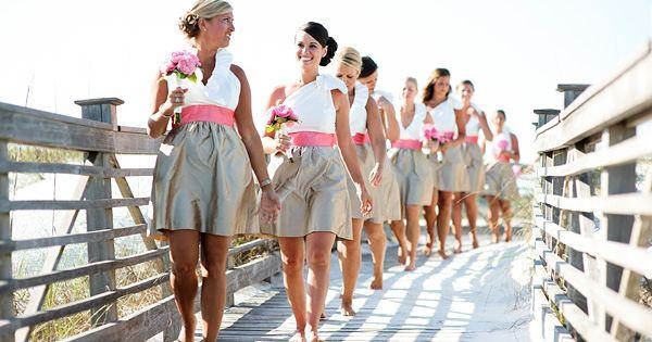 pink, white, and khaki bridesmaid dresses