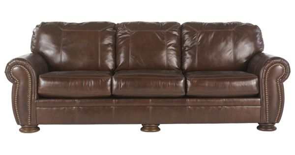 Ashley Palmer Leather Couch In Walnut Hawaii Interior
