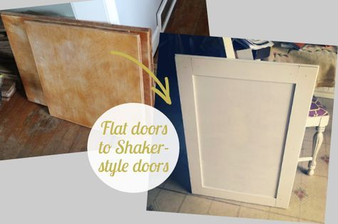 Budget Friendly Way For Me To Spice Up Our Plywood Cabinets I Prefer To Refinish Rather Than Buy New Shaker Style Doors Cabinet Door Makeover Updated Kitchen