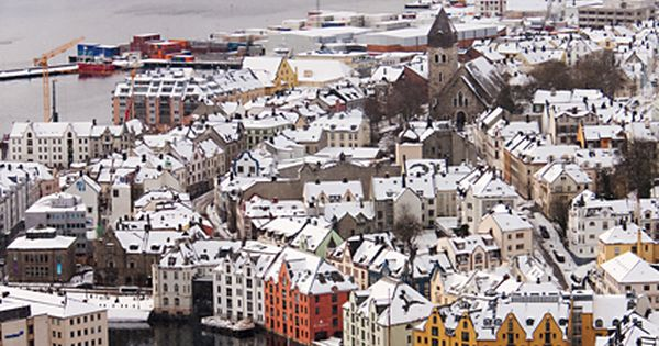 Alesund, Norway, city view, culture, mountain, buildings, water, Winter, snow, photograph, photo