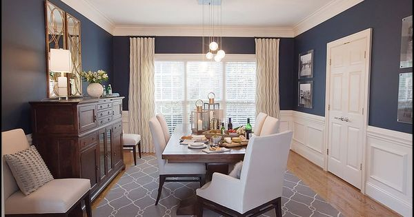 I Want A Navy Dining Room White Paneling Gold