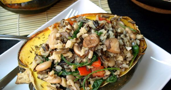 Stuffed Acorn Squash with Wild Rice Medley Recipe - Wanna taste? Come