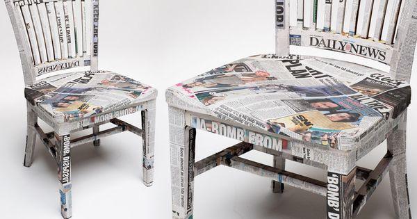 Idee Slaapkamer Stoel : Stoel beplakken met oude kranten Cheap ass ...