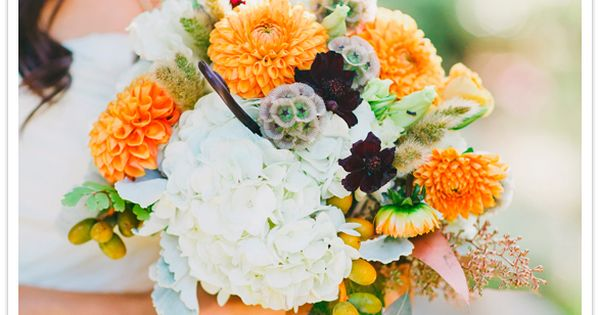 Orange Ball Dahlias, Chocolate Cosmos, Scabiosa Pods, Monkey Tails, White Hydrangea, Lissianthus