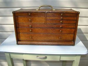 Antique Quartersawn Oak 7 Drawer Machinist Chest Tool Box Tool Box Wooden Cubby Workbench With Drawers