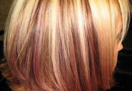 platinum highlights with red violet peek a boo low lights I like
