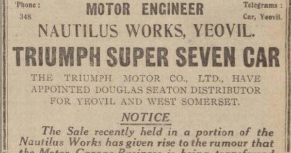 Western Gazette 26 October 1928 Triumph Super Seven Triumph