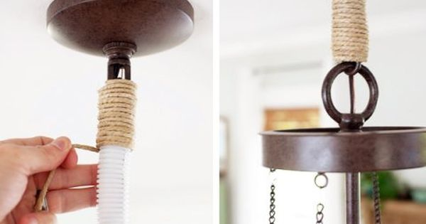 Dining Room Update Diy Twine Chandelier Chain Cover The