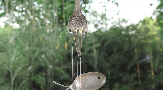 Sterling wind chimes spoon fish flatware windchime for Koi fish wind chime