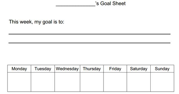 simple goal worksheet for kids this simple goal worksheet allows kids to focus on one task each. Black Bedroom Furniture Sets. Home Design Ideas